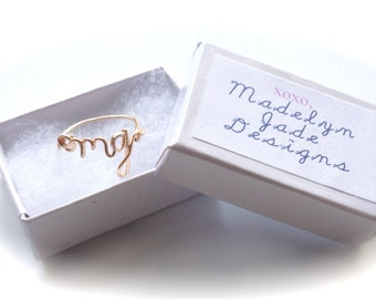 GOLD PLATED Wire Word ring