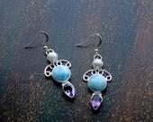 Larimar, Amethyst, and Pearls .925 Sterling Silver Earrings