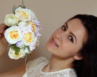 wedding bouquet bridal flower bridal bouquet paper flower bouquet ranunculus mint white wedding flowers paper flowers Austin roses Camellias