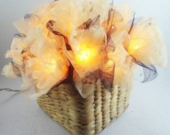 Battery or Plug 20 White Carnation With Basket Weave Flower Fairy String Lights Hanging Party Patio Wedding Garland Gift Home Holiday Decor