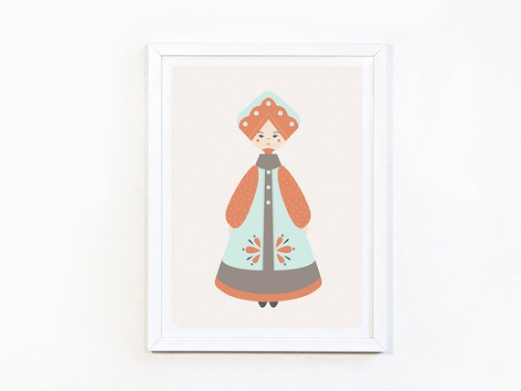 Folklore (blue) print A4