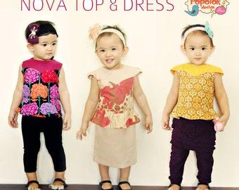 NOVA Top & Dress PDF Pattern by Popolok Design - 8 Sizes Girl Age 1 to 8