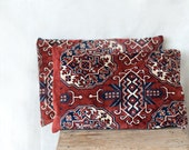 rug cushion, 12x18, set of two kilim pillow covers, decorative cushion, red pink burgundy, throw sofa couch, Turkoman style