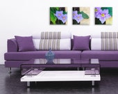 Set of 3 purple flowers printed on canvas - housewarming gift