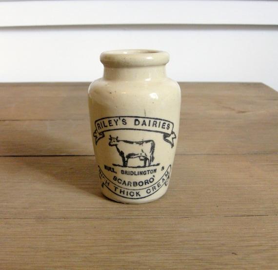 Antique Cream Pot, English Cream Jar, Riley's Dairies Crock with Cow