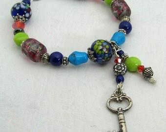 Blue & Red Beaded Bracelet Key Dangle Charm - Toggle Clasp - Large Size