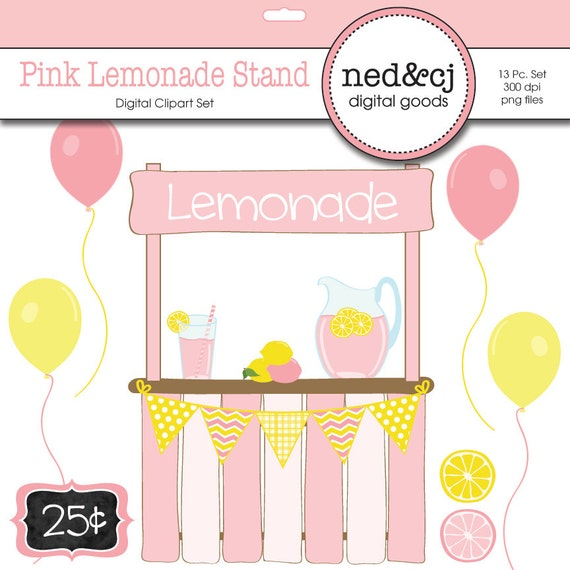 ... Lemonade Clipart - Yellow and Pink Clip Art - INSTANT DOWNLOAD on Etsy