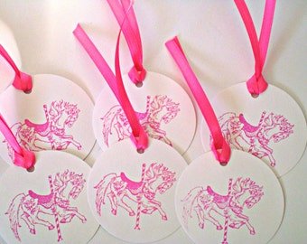 10 Pony gift tags - Carousel tags - Horse tags - Girls birthday tags - Merry go Around gift tags - handmade gift tags