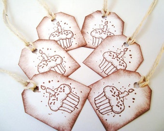 Handmade gift tags: Cupcake tags - Rustic - Candle - bakers twine - Distressed - Aged - Chocolate brown - Vintage Inspired - set of 12