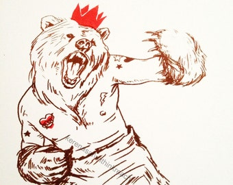 the bear king / hand pulled print / withinkreach