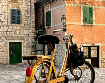 Rustic Bike in Kotor, Montenegro Photo. Distressed Shutters. Yellow. Orange. Windows. Hipster. Bicycle. Antique. Window Shutter. Photograph