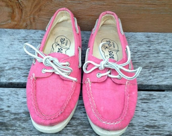 Cotton Candy Pink Sperry Topsider Canvas Shoes Size 5m ladies Preppy Sneakers 90s