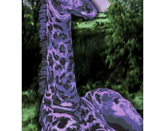 Modern animal art print, purple, baby giraffe