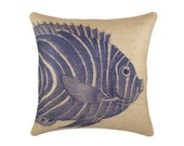 Burlap Fish Pillow Cover, Nautical Cushion, Beach Pillow Cover, Navy and Beige, 16""