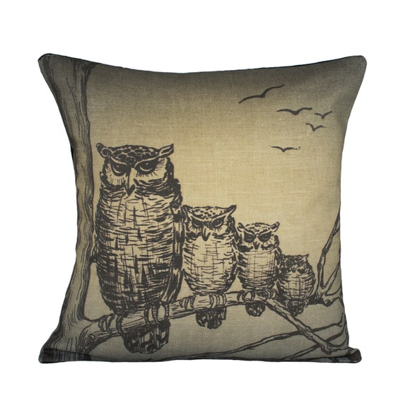 Owl Throw Pillow Covers : Owls Pillow Cover Spooky Owl Cushion Decorative by TheWatsonShop