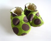 Brown and Green Polka-dot Baby Shoes