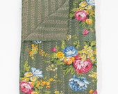 Twin Quilt or Blanket in Army Green Floral Roses