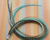Hair Feather Extension Clip In Turquoise and Naturals