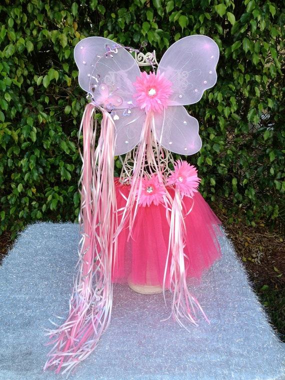 Fairy Princess, Pink Fairy Wings, Dark Pink Tutu, Fairy Halo and Princess Wand Party Favors