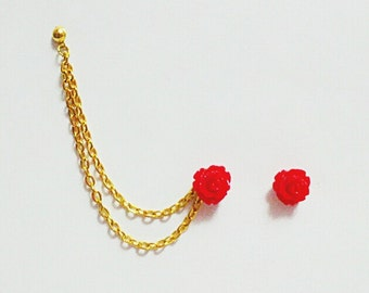 Red Rose Cartilage Chain Cartilage Earrings Helix Jewelry Cuff Earring Flower Roses Clip On