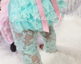 Ready to Ship- Aqua Lace Diaper Cover, Pink Bow, bloomers, newborn, baby girl, toddler, birthday, cake smash, photo prop