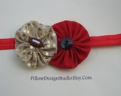 San Francisco 49ers headband -- 49ers football headband for baby, girls -- sparkly gold and red flower headband with football button