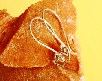 10 Pieces (5 pairs), Shiny Bali Sterling Silver, Heart Design, French Hook Ear Wire, 24 mm, SE219