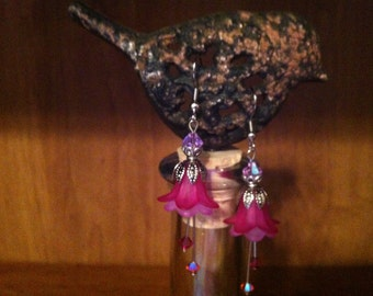 Dark and Light Pink Flower Earrings