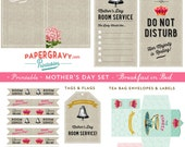 Digital Printable vintage style Mother's Day Breakfast in Bed Set