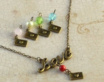 Love Script Necklace Valentine's Day Antique Bronze Gift Letter Bead Dangle Charm Red Pink Aqua Lime Pearl Fashion Jewelry Free Shipping