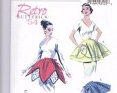 New  Butterick Pattern Retro style apron 1954 small medium large four styles