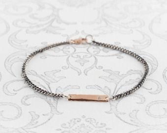 Diamond Bar Bracelet 14K Rose Gold / Oxidized Silver