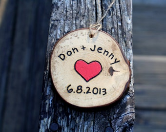 5th & 6th Anniversary Wood Gifts- Hand Engraved Ornament - Personalized Sign- Hanging with Jute tie- Gifts under 25