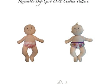 Reversible 'Just Right' Doll Diaper and Big-Girl Doll Undies PDF Patterns - Baby Stella Size
