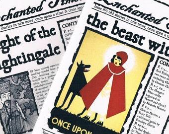 SPECIAL OFFER Fairytale Newspaper Set, 2 X Enchanted Times - Red Riding Hood, Rumpelstiltskin, Grimm fairy tales zines