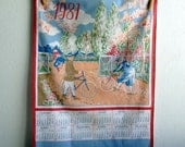French vintage 1987 calendar tea towel - old style bikes and cyclists, 1980s kitchen towel, blue pink red