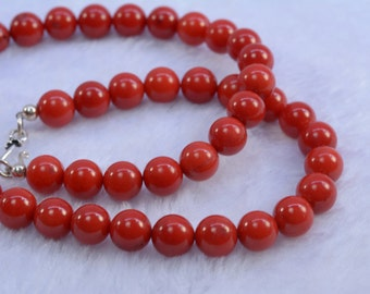 red coral necklace - coral jewelry - red necklace - round bead necklace - bridal jewelry - wedding necklace - bridal jewelry necklace