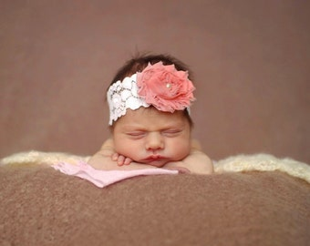 Baby Headband, white lace Headband, Toddler Headband, Newborn headband, baby hair bow, Newborn photo prop, hair accessories.
