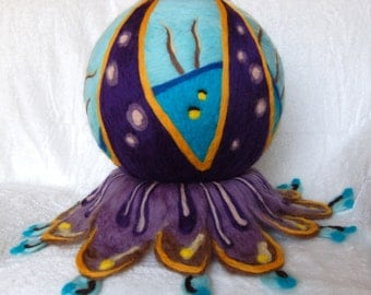 Felt art sculpture with lots of colors, wool artwork, fantasy felt, OOAK, modern felt art, colors: blue, purple and orange, unique art piece