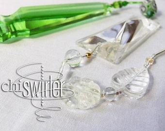 Green Beaded Suncatcher, 'depression glass' green repurposed vintage chandelier crystal, rainbow maker, good energy, Chi-Swirler