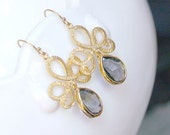 Gray Dangle Earrings - Charcoal Gray Earrings - Gray and Gold on Gold Filled Earwires - Modern Earrings, Gift for Her, Bridal, Bridesmaids