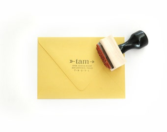 "Custom ""Arrow"" Return Address Stamp - for Invitations, Housewarming, Gifts, Thank You Cards - Wood Mounted, Handle & Eco-Friendly Rubber"