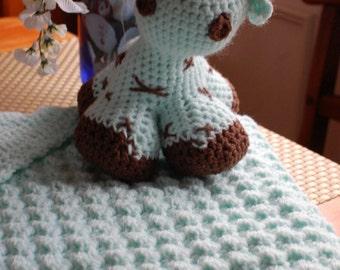 Hooded Baby Blanket with Stuffed Animal