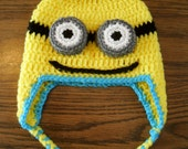 Two-Eyed Minion Earflap Hat w/Ties - Made To Order
