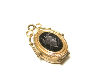Victorian Gold Plated Oval Onyx and Blood Stone Watch Fob and Locket - Pendant - Keepsake - Memories - Portrait # 1277