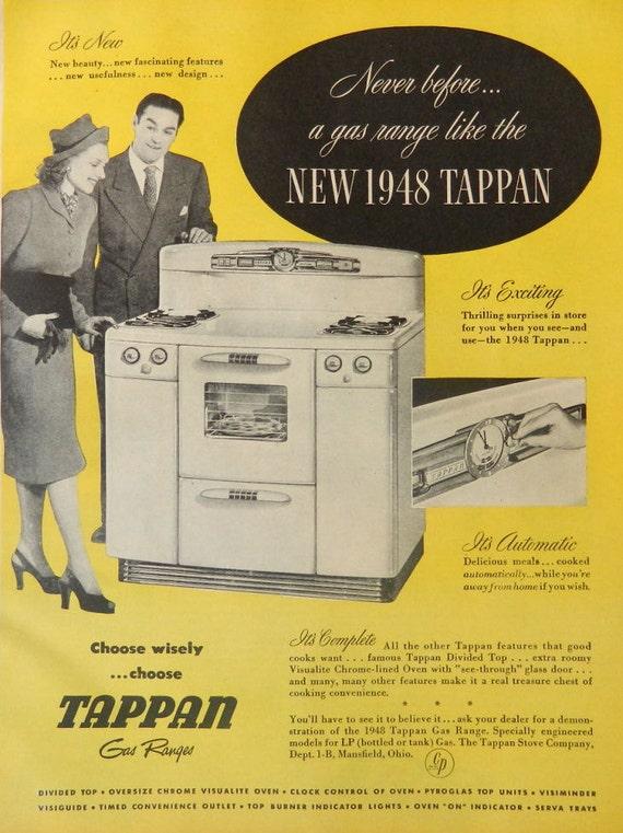 Kitchen Decor Tappan Stove Ad Yellow 1940s Kitchen Wall