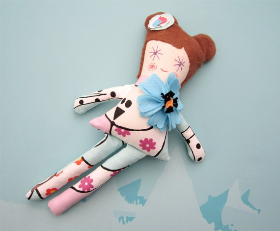 Plush Doll with blue felt flower Soft Doll Fabric Pastel Pink and Blue Doll Toy Stuffed Doll for Girl