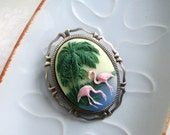 Kitsch Vintage Style Flamingo Antique Silver Kawaii Hawaii Palm Tree Cameo Brooch With Pendant Attachment