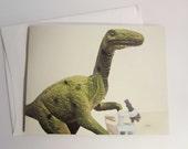 Dinosaur Scientist. Blank card.