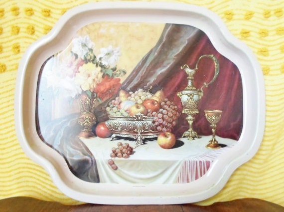 Vintage Elite Serving, Tray, Made in Eangland, Fruit, Roses, Cottage Chic, Hollywood Regency, Barware